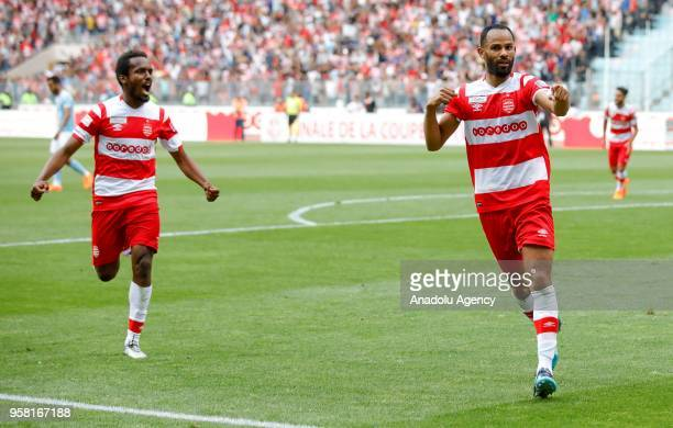 Saber Khalifa of Club Africain celebrates after scoring a goal during the Tunisian Cup final match between Etoile Sahel and Club Africain at Rades...