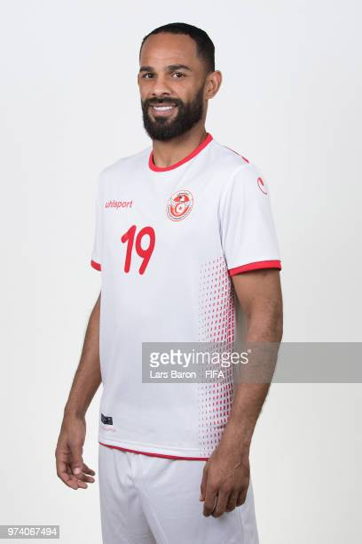 Saber Khalifa of Tunisia poses during the official FIFA World Cup 2018 portrait session on June 13 2018 in Moscow Russia