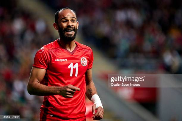 Saber Khalifa of Tunisia reacts during the friendly match of preparation for FIFA 2018 World Cup between Portugal and Tunisia at the Estadio AXA on...
