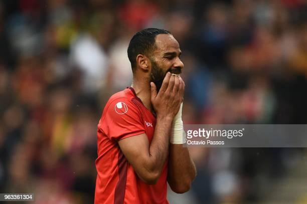 Saber Khalifa of Tunisia reacts during the international friendly football match against Portugal and Tunisia at the Municipal stadium de Braga on...