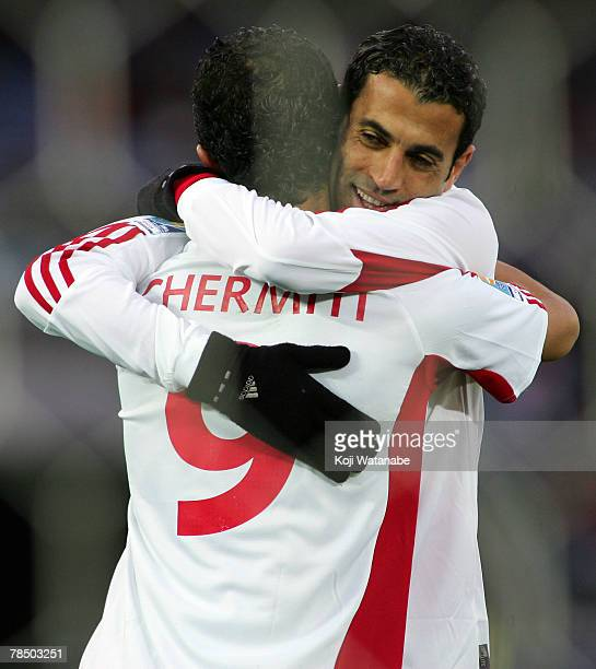Sabeur Frej of Etoile Sportive du Sahel celebrates his goal with his teammate Amine Chermiti during the FIFA Club World Cup third place final match...