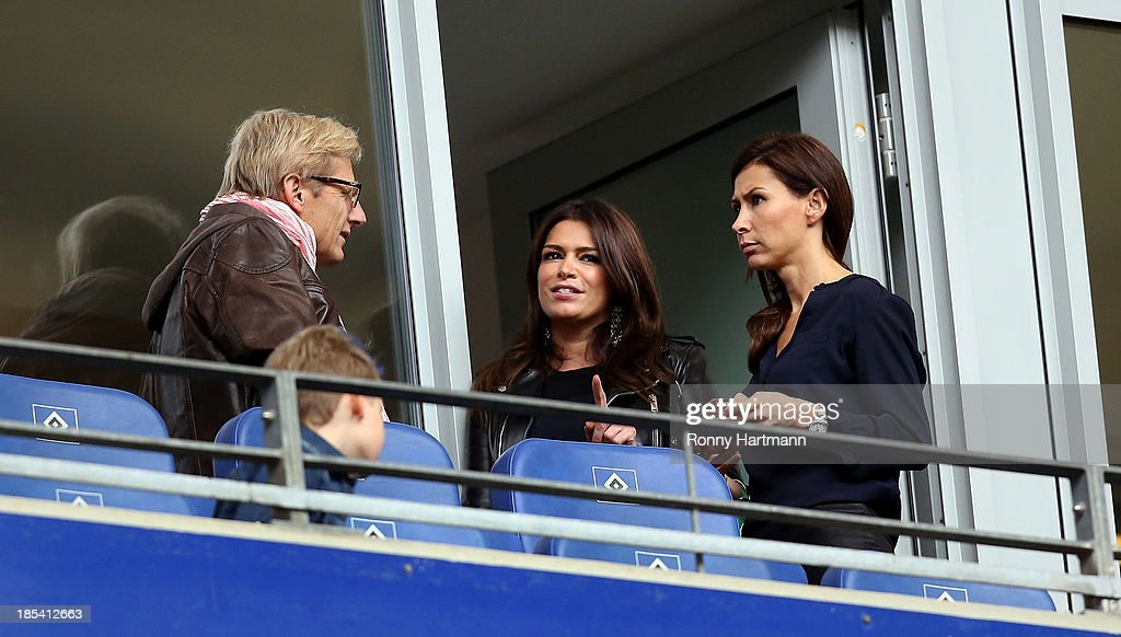 Sabia Boulahrouz (C), girlfriend of Rafael van der Vaar of Hamburg, prior to the Bundesliga match between Hamburger SV and VfB Stuttgart at Imtech Arena on October 20, 2013 in Hamburg, Germany.