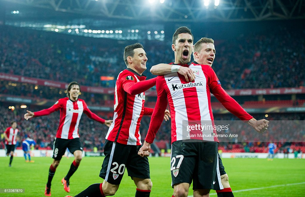 Sabin Marino of Athletic Club celebrates after scoring during the UEFA Europa League Round of 32: Second Leg match between Athletic Club and Marseille at San Mames Stadium on February 25, 2016 in Bilbao, Spain.