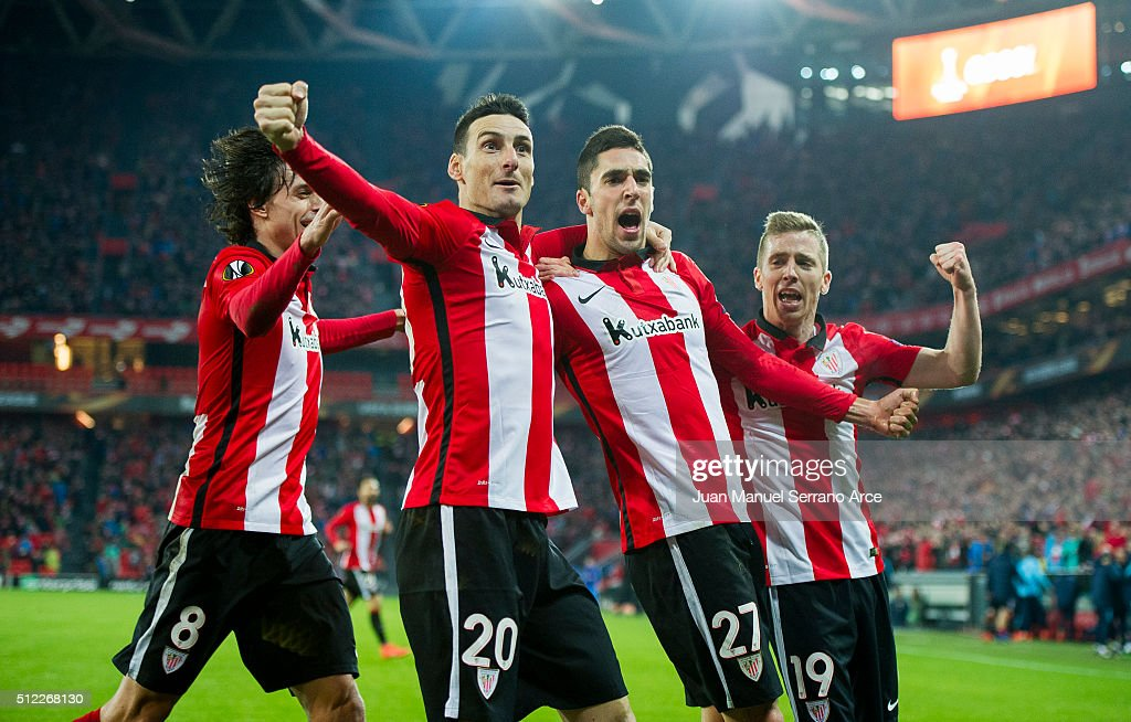 Sabin Marino (2ndR) of Athletic Club celebrates after scoring during the UEFA Europa League Round of 32: Second Leg match between Athletic Club and Marseille at San Mames Stadium on February 25, 2016 in Bilbao, Spain.
