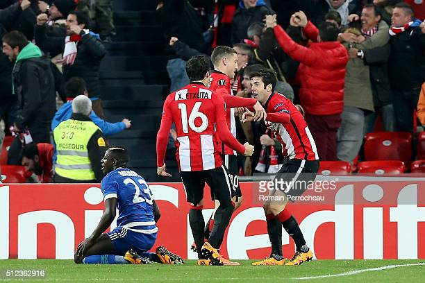 Sabin Merino of Bilbao reacts after his goal during the UEFA Europa League Football round of 32 second leg match between Athletic Bilbao and...