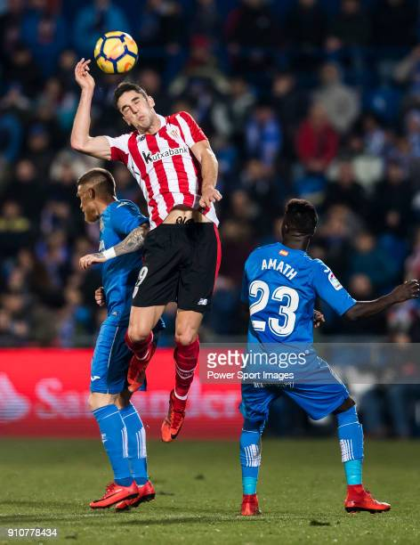 Sabin Merino Zuloaga of Athletic Club de Bilbao fights for the ball with Vitorino Gabriel Pacheco Antunes and Amath Ndiaye Diedhiou of Getafe CF...