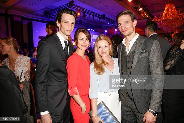 Sabin Tambrea Alice Dwyer Jennifer Ulrich and August Wittgenstein attend the Medienboard BerlinBrandenburg Reception on February 13 2016 in Berlin...