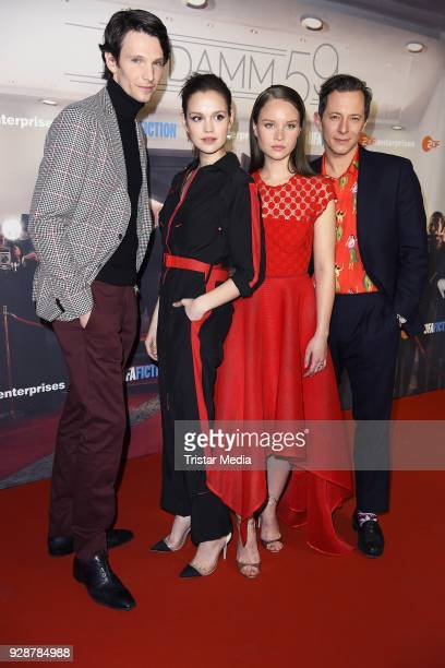 Sabin Tambrea Emilia Schuele Sonja Gerhardt and Trystan Puetter during the premiere of 'Ku'damm 59' at Cinema Paris on March 7 2018 in Berlin Germany