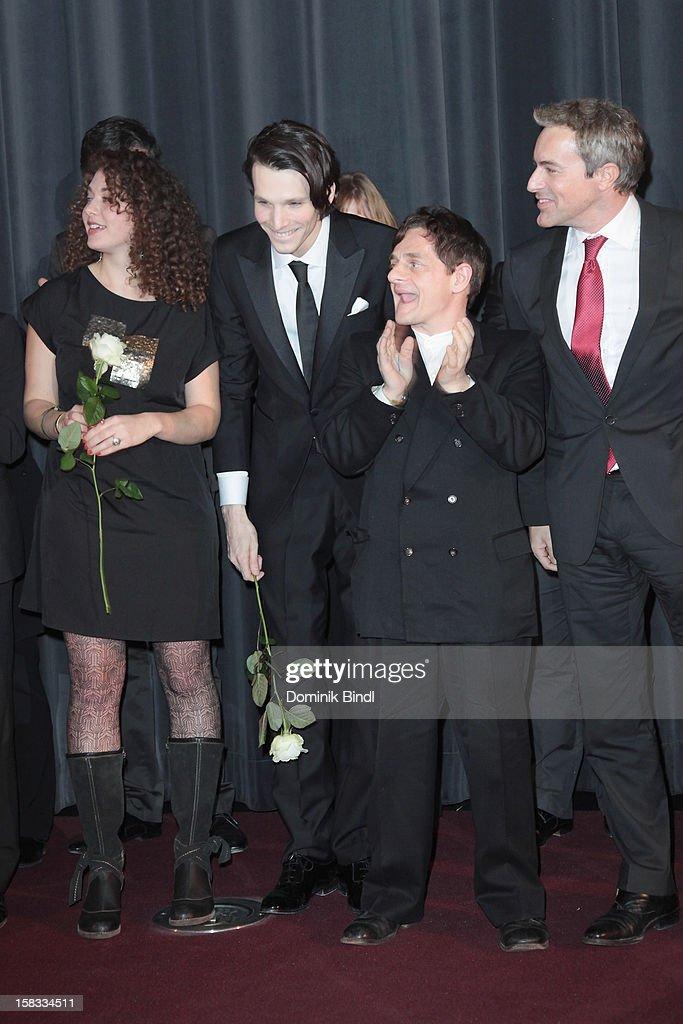Sabin Tambrea, Volker Zack Michalowski and Gedeon Burkhard attend Ludwig II - Germany Premiere at Mathaeser Filmpalast on December 13, 2012 in Munich, Germany.