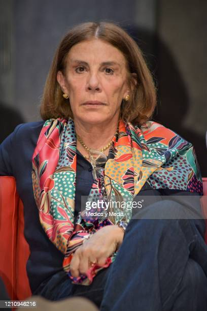 Sabina Berman listens to the Media questions as writer of the play 'Between Pancho Villa and a Naked Woman' at Rafael Solana Theatre on March 6 2020...