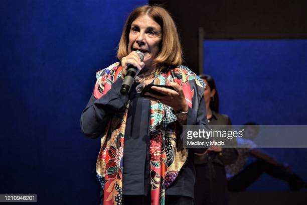 Sabina Berman speaks with Media as a writer of the play 'Between Pancho Villa and a Naked Woman' at Rafael Solana Theatre on March 6 2020 in Mexico...