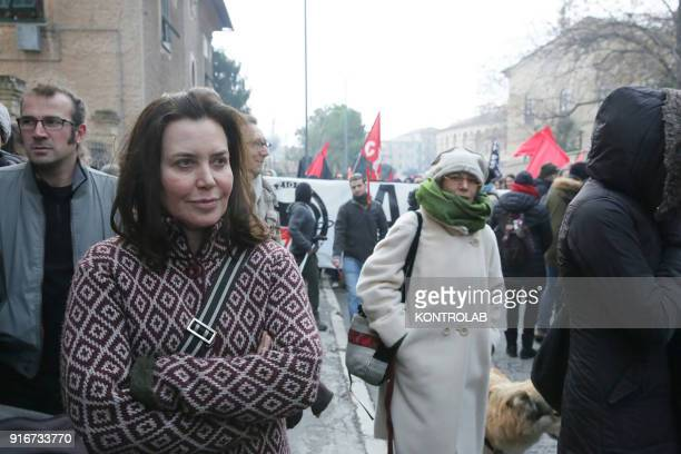 Sabina Guzzanti actress comedian at the antiracist demonstration in Macerata