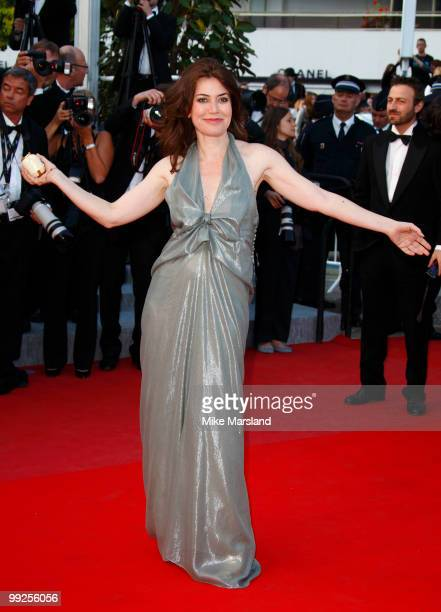 Sabina Guzzanti attends the Premiere of 'On Tour' at the Palais des Festivals during the 63rd Annual International Cannes Film Festival on May 13...