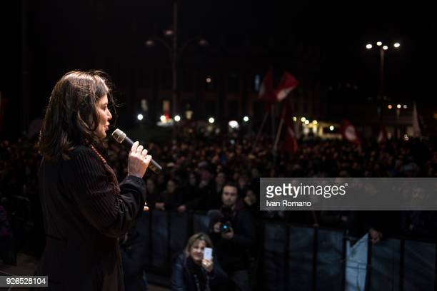 Sabina Guzzanti satirical actress during the closing electoral campaign of the extreme left party Power to the People in Piazza Dante on March 2 2018...