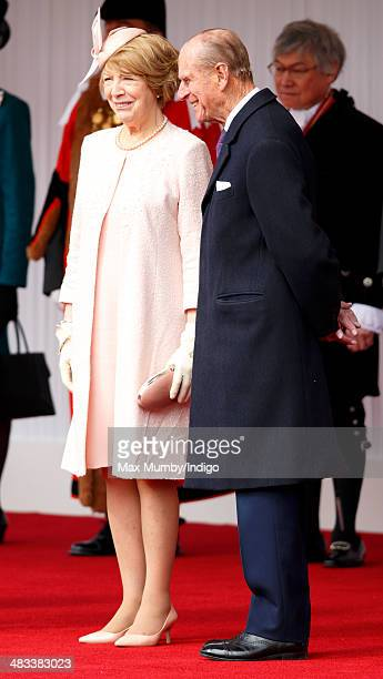 Sabina Higgins wife of Irish President Michael D Higgins talks with Prince Philip Duke of Edinburgh during the ceremonial welcome for her husband on...