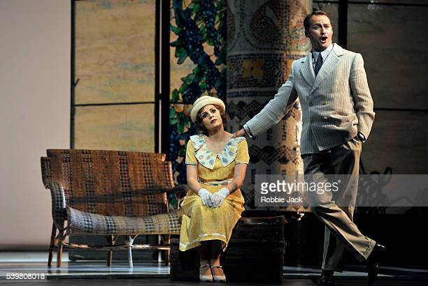 Sabina Puertolas as Lisette and Edgaras Montvidas as Prunier in the Royal Opera's production of Giacomo Puccini's La Rondine directed by Nicolas Joel...