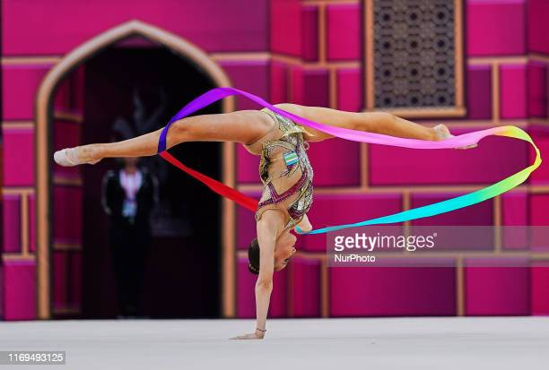 Sabina Tashkenbaeva of Uzbekistan during the 37th Rhythmic Gymnastics World Championships at the National Gymnastics Arena in Baku, Azerbaijan on...
