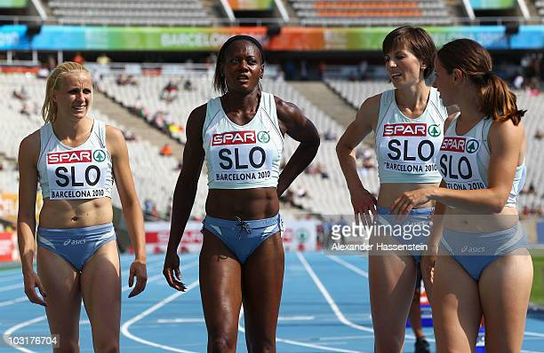 Sabina Veit Merlene Ottey Tina Murn and Kristina Zumer of Slovenia after competing in the 4x100m Womens Relay Heats during day five of the 20th...