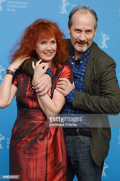 Sabine Azema and Andre Dussollier attend the 'Life of Riley' photocall during 64th Berlinale International Film Festival at Berlinale Palast on...
