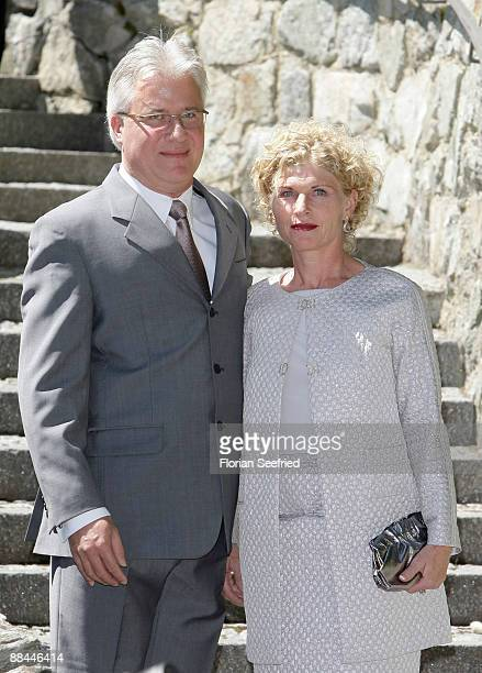 Sabine Becker-Schorp and husband arrive at the legal wedding of Boris Becker and Sharlely Kerssenberg at Segantini Museum on June 12, 2009 in St...