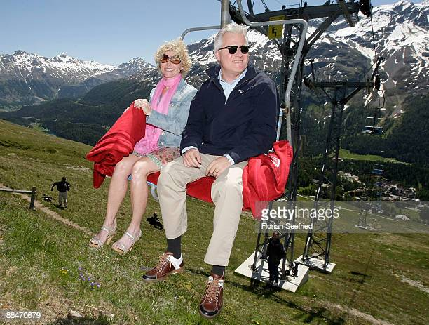 Sabine Becker-Schorp, sister of Boris Becker and husband Matthias Schorp arrive on a ski lift to the wedding brunch reception, on June 13, 2009 in St...