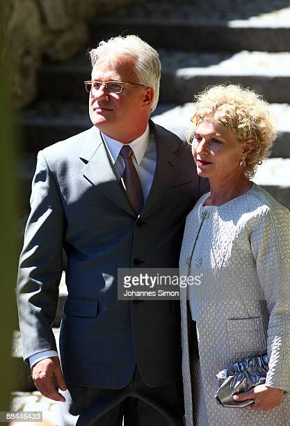 Sabine Becker-Schorp , sister of former tennis star Boris Becker and her husband arrive for the legal wedding of his son and his new wife Sharlely...
