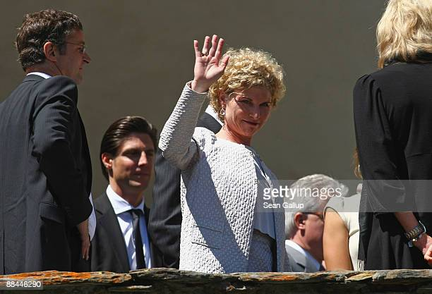Sabine Becker-Schorp, sister of former tennis star Boris Becker, attends her brother's wedding to Sharlely Kerssenberg at the Segantini Museum on...