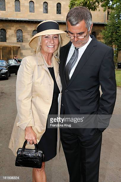 Sabine Christiansen and Norbert Medus attend the Church Wedding of Florian Langenscheidt and Miriam Langenscheidt at Friedenskirche on September 8...