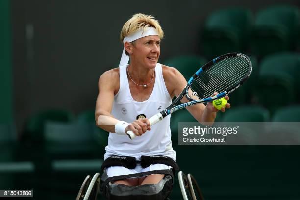 Sabine Ellerbrock of Germany in action during her women's singles wheel chair tennis final against Diede De Groot of Holland on day twelve of the...