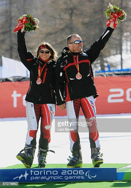 Sabine Gasteiger of Austria and her guide Emil Gasteiger celebrate winning the Gold Medal in the Women's Super G Visually Impaired during Day Four of...