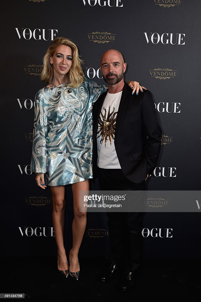 Sabine Getty and a guest attend the Vogue 95th Anniversary Party on October 3, 2015 in Paris, France.