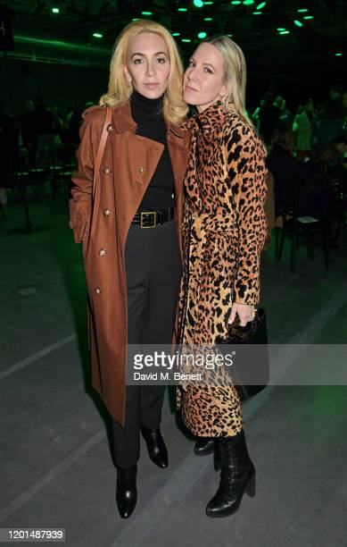 Sabine Getty and Alice Naylor Leyland attend the Christopher Kane show during London Fashion Week February 2020 at The Mail Centre on February 17...