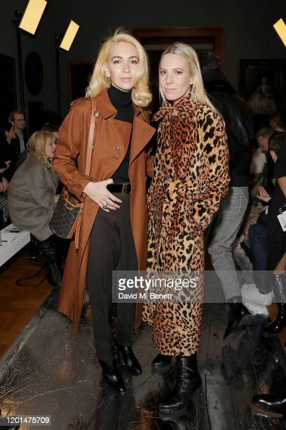 Sabine Getty and Alice Naylor Leyland attend the Erdem show during London Fashion Week February 2020 at the National Portrait Gallery on February 17...