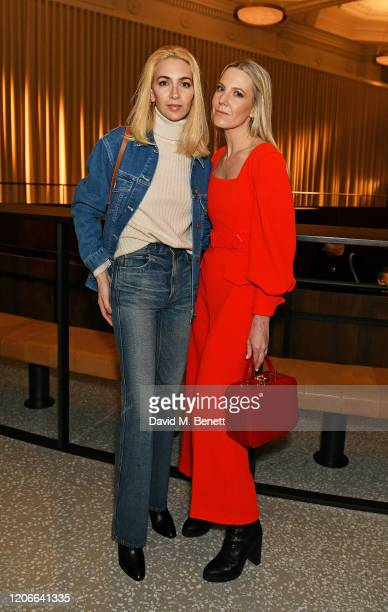 Sabine Getty and Alice NaylorLeyland attend the Emilia Wickstead front row during London Fashion Week February 2020 at the Royal Academy of Artson...