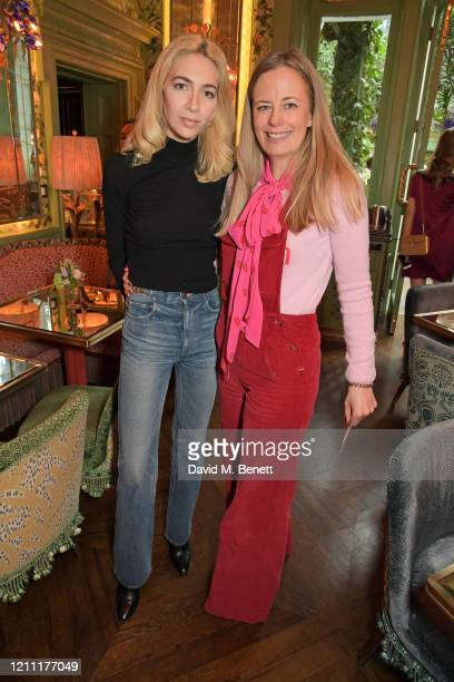 Sabine Getty and Astrid Harbord attend International Women's Day for The Caring Foundation with Salma Hayek at Annabel's on March 08 2020 in London...