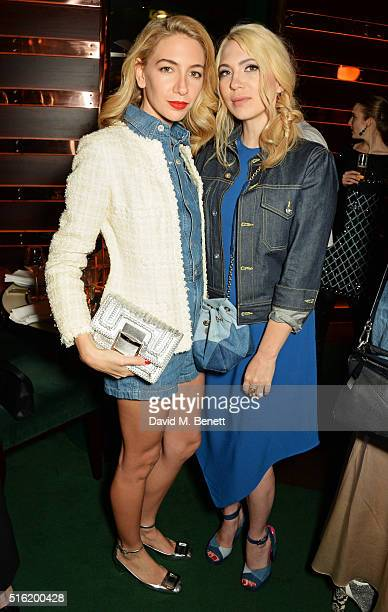 Sabine Getty and Camille Seydoux attend a dinner hosted by Roger Vivier to celebrate the Prismick Denim collection by Camille Seydoux at Casa Cruz on...