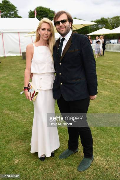 Sabine Getty and Joseph Getty attend the Cartier Queen's Cup Polo at Guards Polo Club on June 17 2018 in Egham England