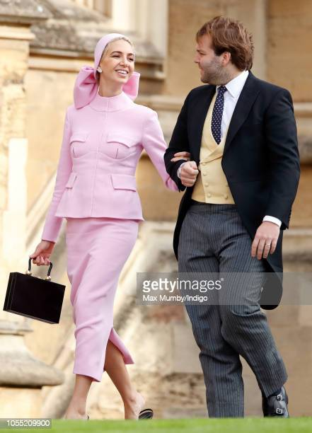 Sabine Getty and Joseph Getty attend the wedding of Princess Eugenie of York and Jack Brooksbank at St George's Chapel on October 12 2018 in Windsor...