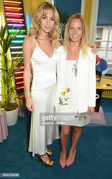 Sabine Getty and Martha Ward attend a drinks reception and dinner in celebration of the Sabine Getty Showroom in Berkeley Square on June 28 2016 in...