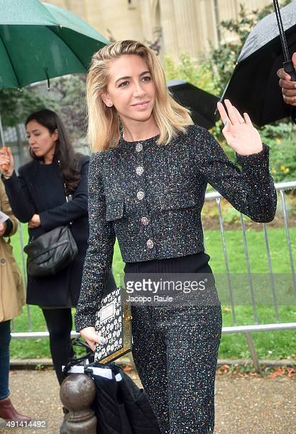 Sabine Getty arrives at Giambattista Valli Fashion Show during the Paris Fashion Week S/S 2016 Day Seven on October 5 2015 in Paris France