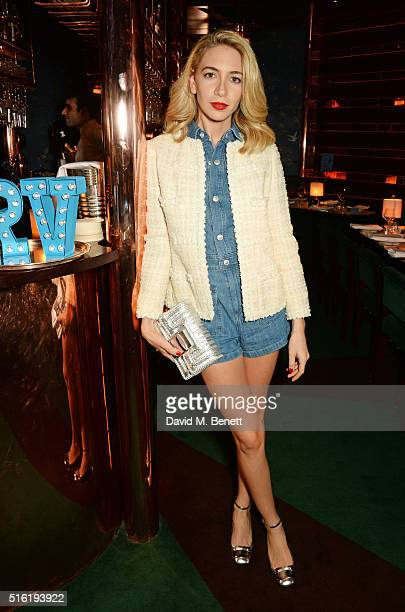 Sabine Getty attends a dinner hosted by Roger Vivier to celebrate the Prismick Denim collection by Camille Seydoux at Casa Cruz on March 17 2016 in...