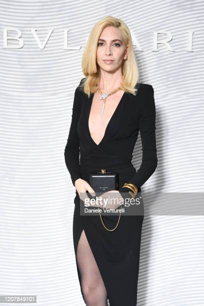 Sabine Getty attends the Bulgari FW 20 Leather Goods and Accessories Collection Party on February 21 2020 in Milan Italy