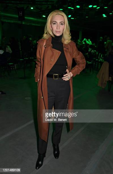Sabine Getty attends the Christopher Kane show during London Fashion Week February 2020 at The Mail Centre on February 17 2020 in London England