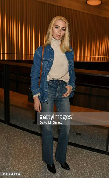 Sabine Getty attends the Emilia Wickstead front row during London Fashion Week February 2020 at the Royal Academy of Artson February 16 2020 in...