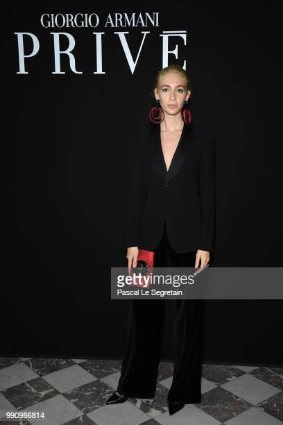 Sabine Getty attends the Giorgio Armani Prive Haute Couture Fall Winter 2018/2019 show as part of Paris Fashion Week on July 3 2018 in Paris France
