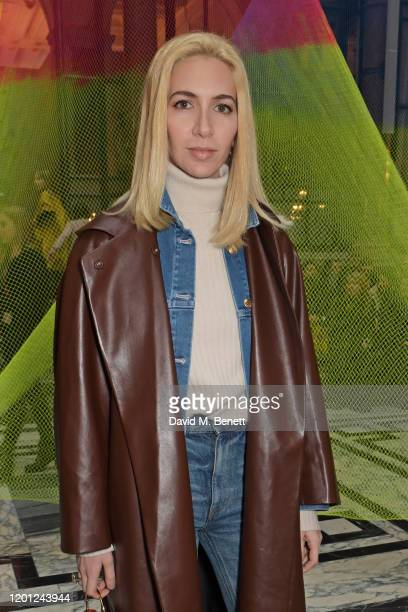 Sabine Getty attends the Roksanda show during London Fashion Week February 2020 at The British Foreign and Commonwealth Office on February 16 2020 in...