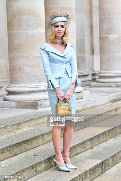 Sabine Getty attends the Wedding of Prince Jean-Christophe Napoleon and Olympia Von Arco-Zinneberg at Les Invalides on October 19, 2019 in Paris,...