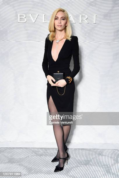 Sabine Getty attens the Bulgari FW 20 Leather Goods and Accessories Collection Party on February 21 2020 in Milan Italy