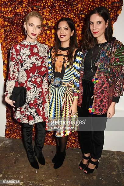 Sabine Getty Noor Fares and Tatiana Santo Domingo attend the launch of Noor Fares' new jewellery collection 'Akasha' at Lamb Gallery on November 15...