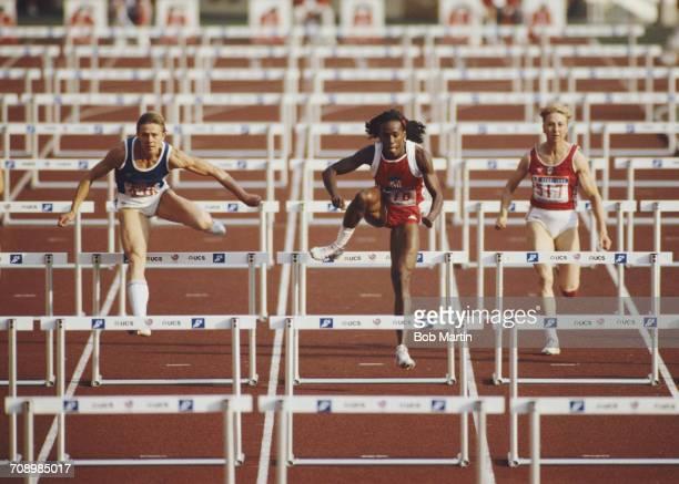 LR Sabine John of East Germany Jackie JoynerKersee of the United States and Svetlana Buraga of the Soviet Union during the Women's 100 metres Hurdles...